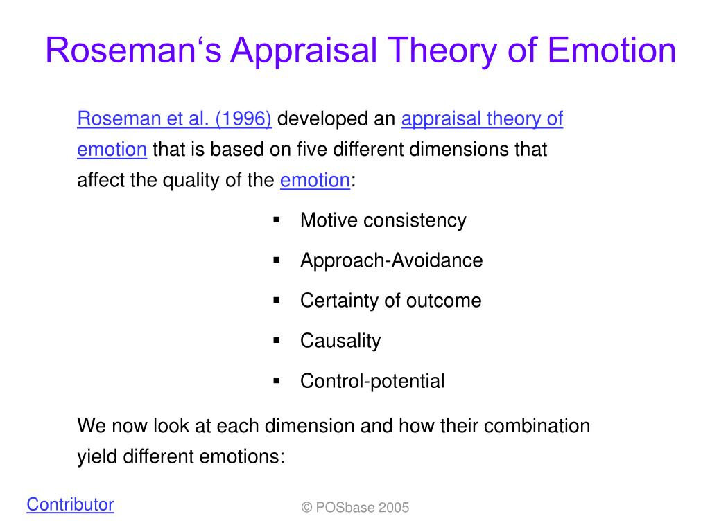 roseman s appraisal theory of emotion l.