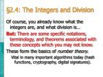 2 4 the integers and division
