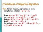 correctness of negation algorithm