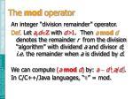 the mod operator