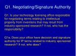 q1 negotiating signature authority