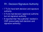 r1 decision signature authority