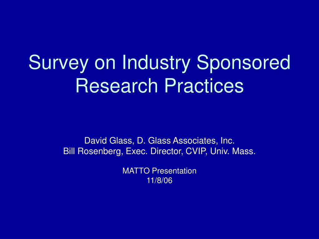 survey on industry sponsored research practices l.