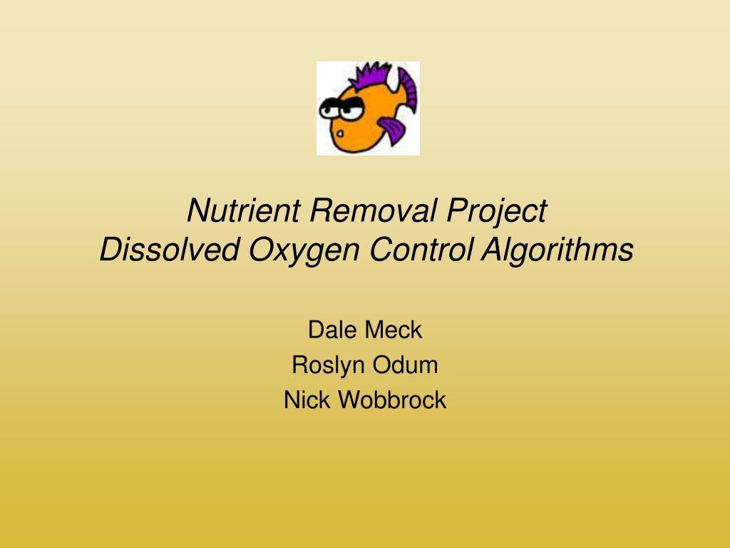 nutrient removal project dissolved oxygen control algorithms l.