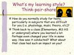 what s my learning style think pair share