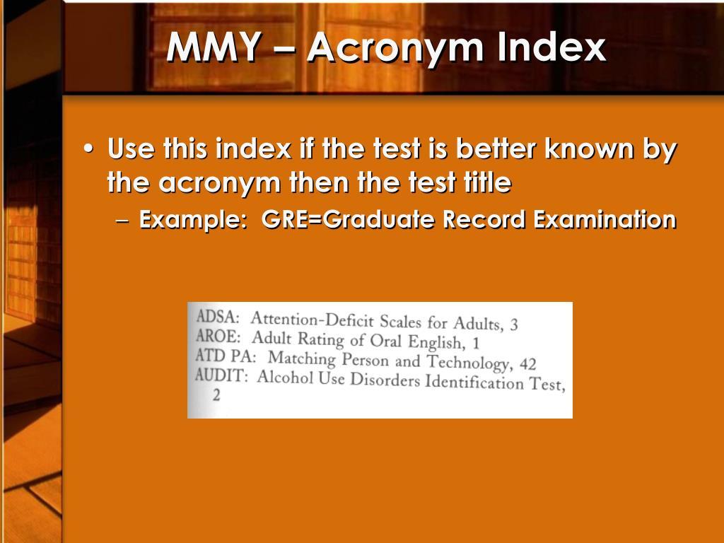 MMY – Acronym Index