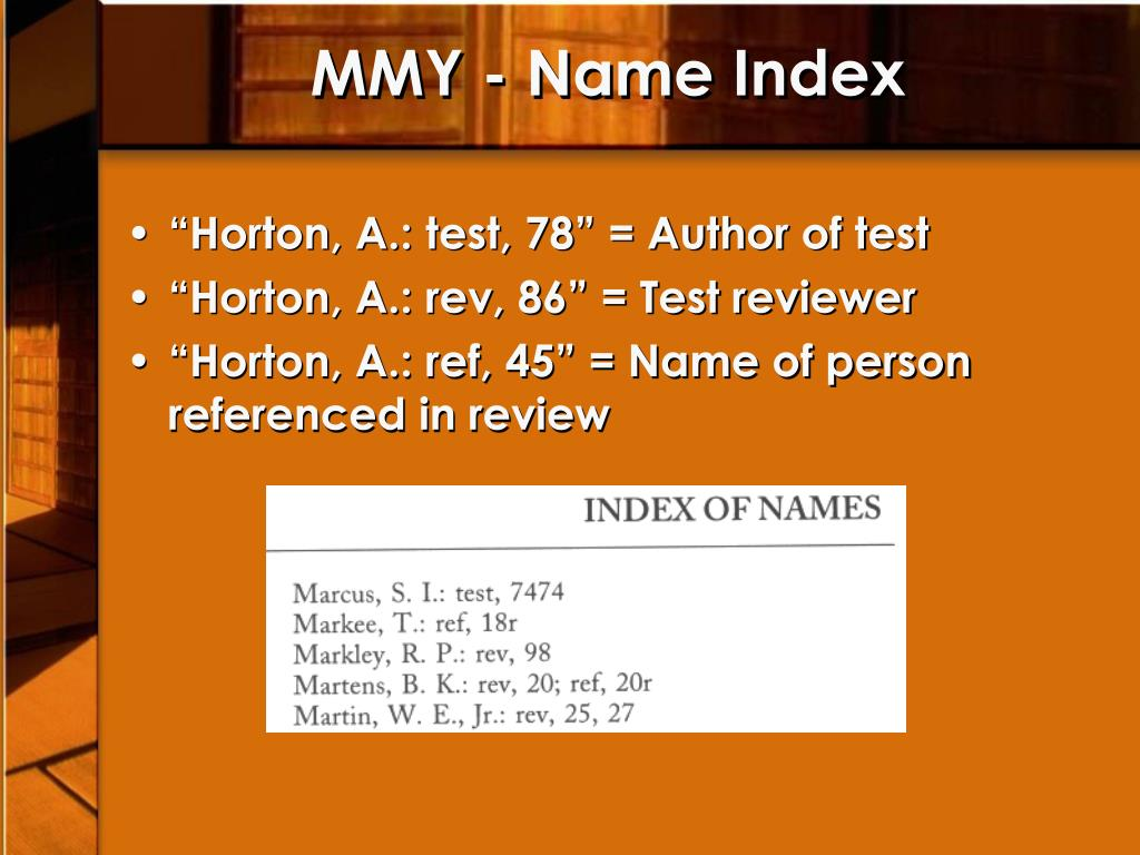 MMY - Name Index