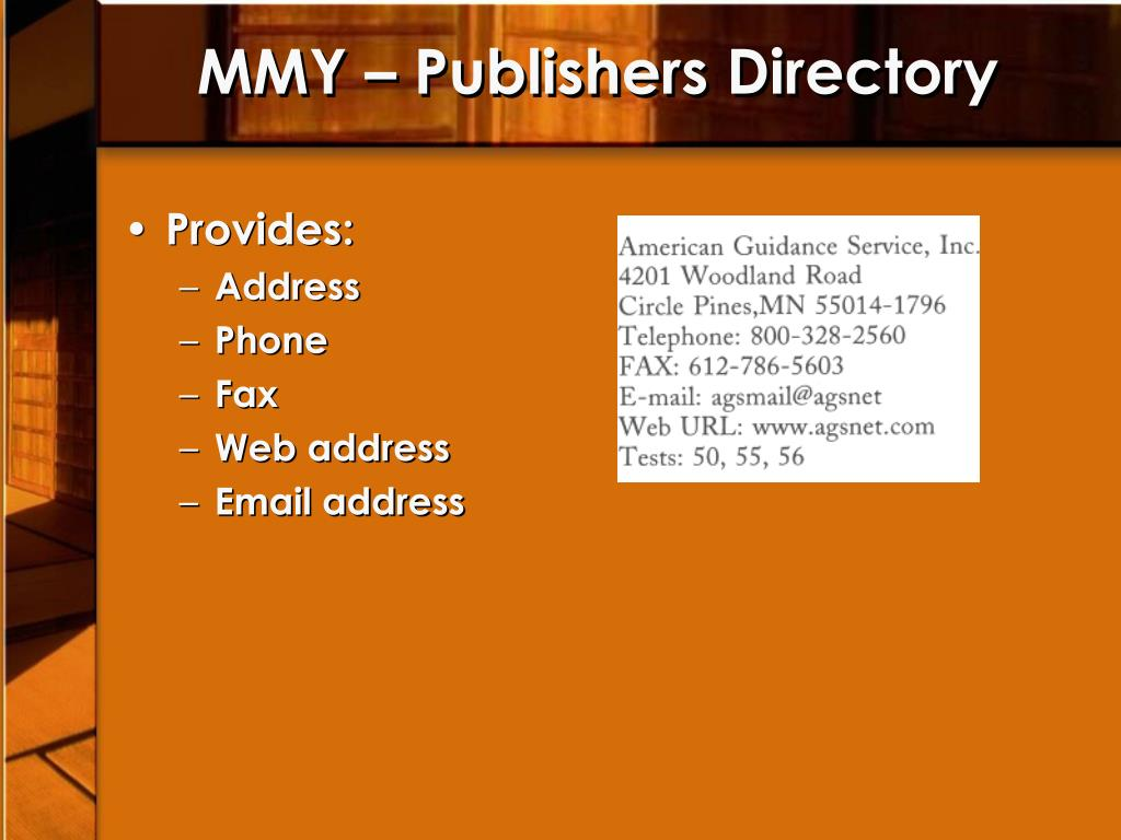 MMY – Publishers Directory