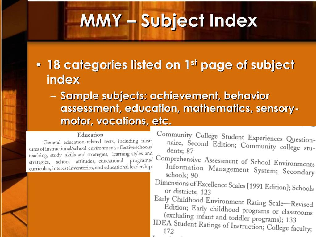 MMY – Subject Index