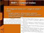 mmy subject index