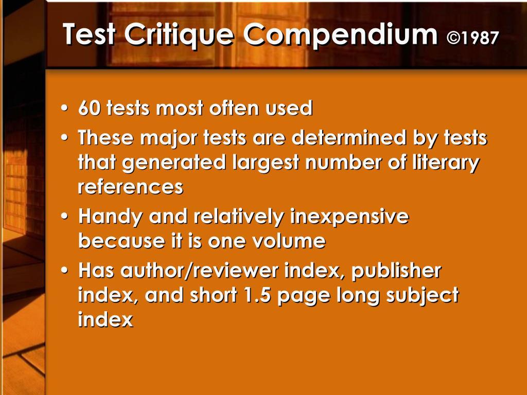Test Critique Compendium