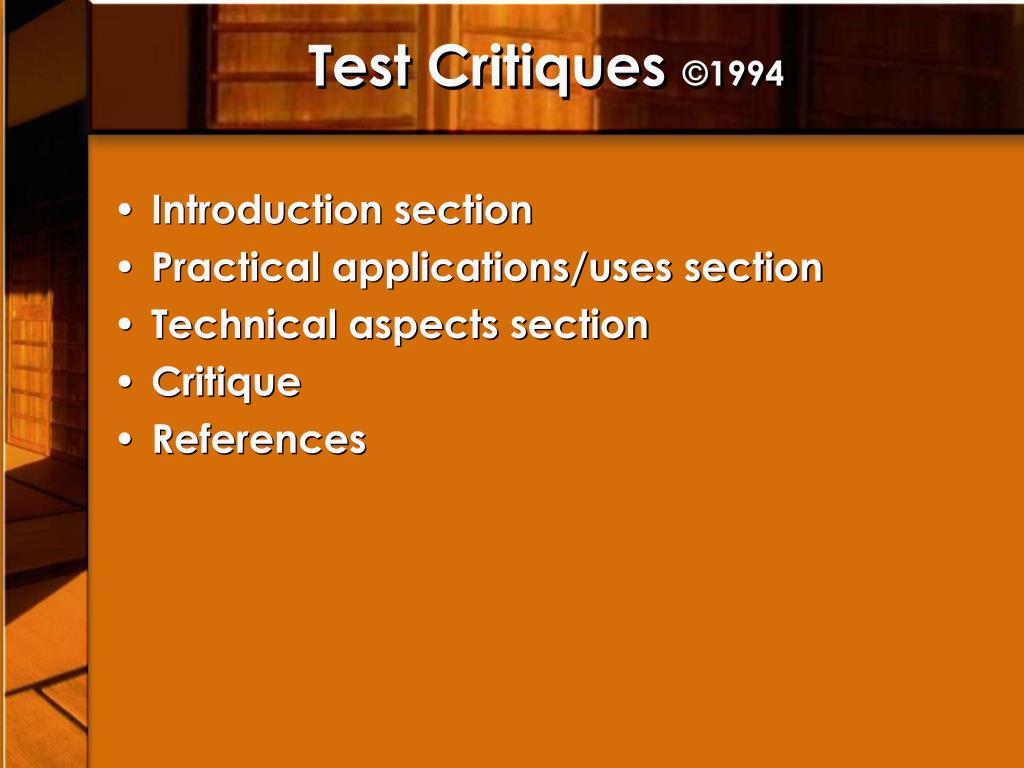 Test Critiques
