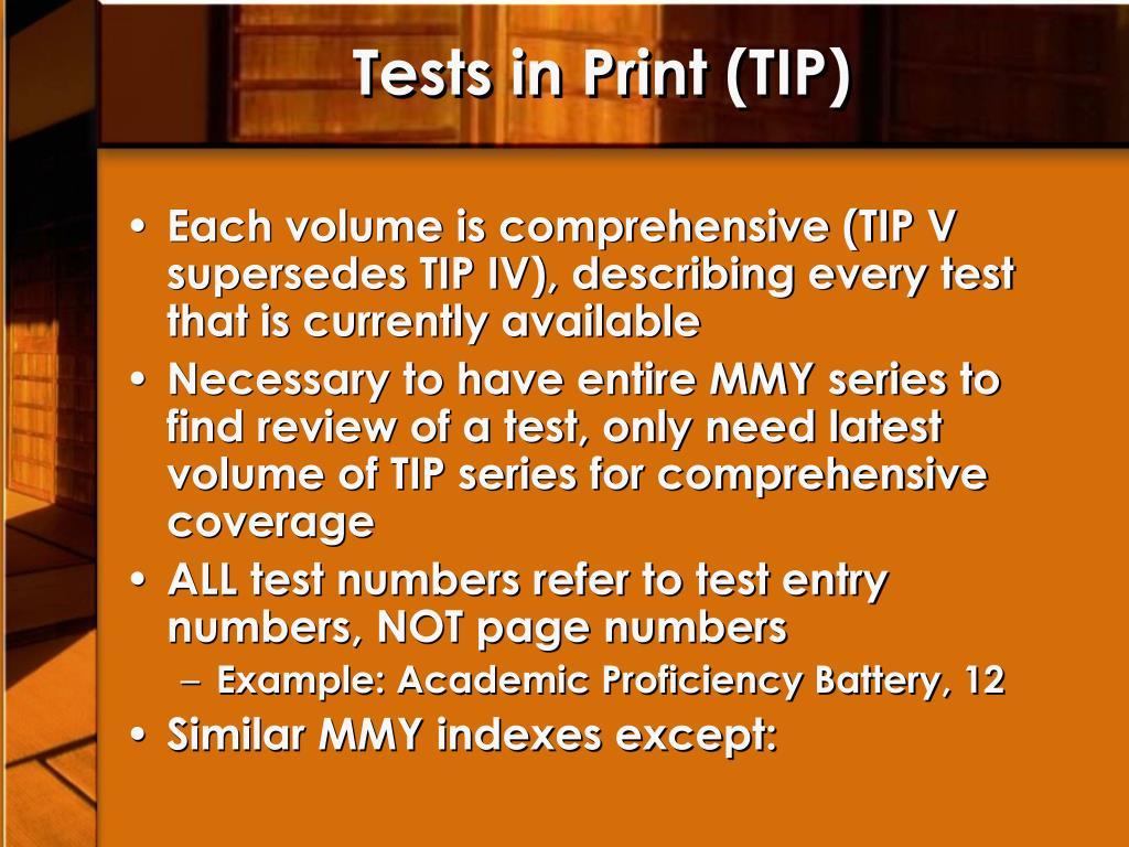 Tests in Print (TIP)