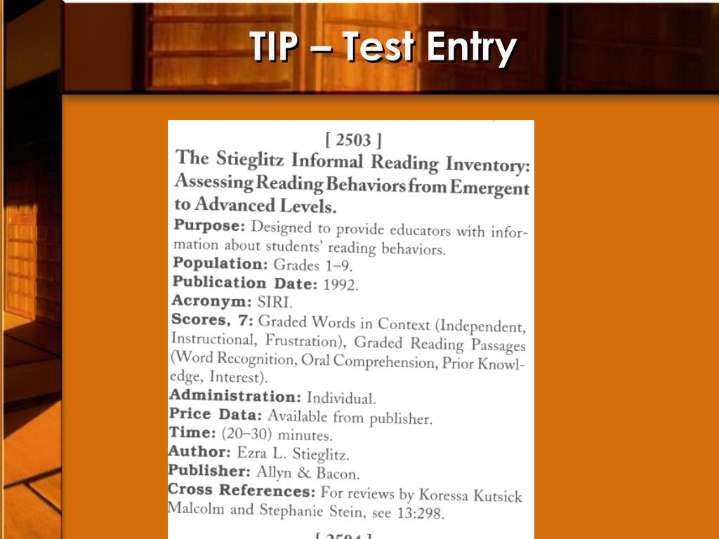 TIP – Test Entry
