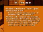 tip title index