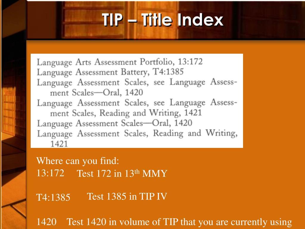 TIP – Title Index
