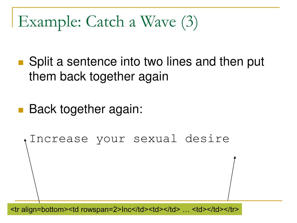 Example: Catch a Wave (3)