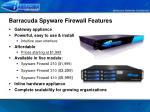 barracuda spyware firewall features