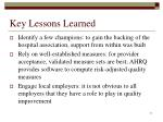 key lessons learned11