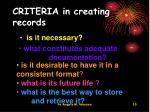 criteria in creating records