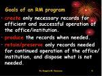 goals of an rm program