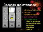 records maintenance