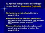 a agents that prevent adrenergic transmission guanadrel hylorel