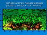 warto ci anomalii wolnopowietrzn ej mgal na obszarze tatr i podhala