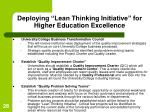 deploying lean thinking initiative for higher education excellence
