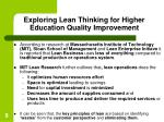 exploring lean thinking for higher education quality improvement9