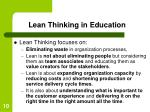 lean thinking in education