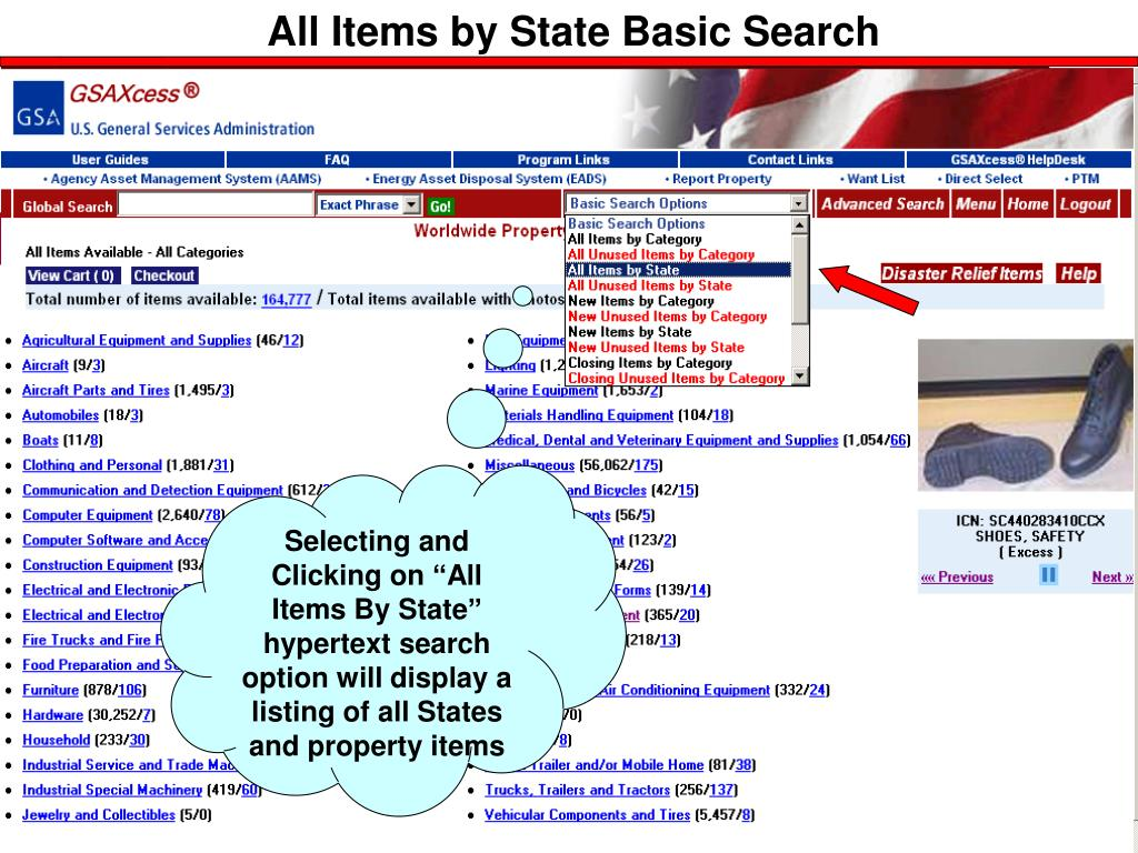 All Items by State Basic Search