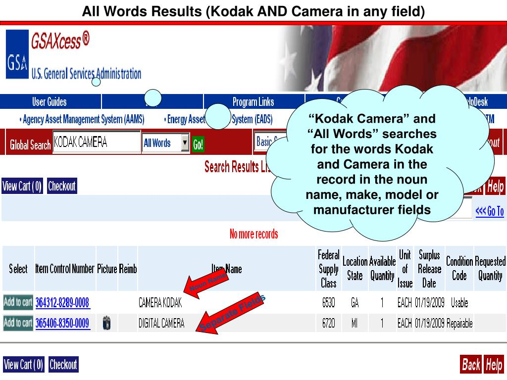 All Words Results (Kodak AND Camera in any field)