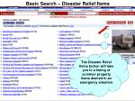 basic search disaster relief items
