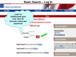 basic search log in