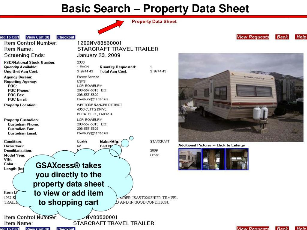 Basic Search – Property Data Sheet