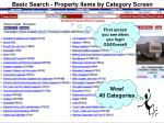 basic search property items by category screen