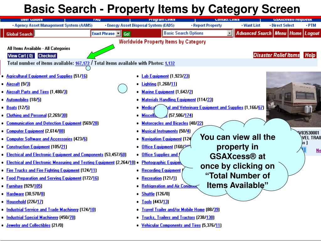 Basic Search - Property Items by Category Screen