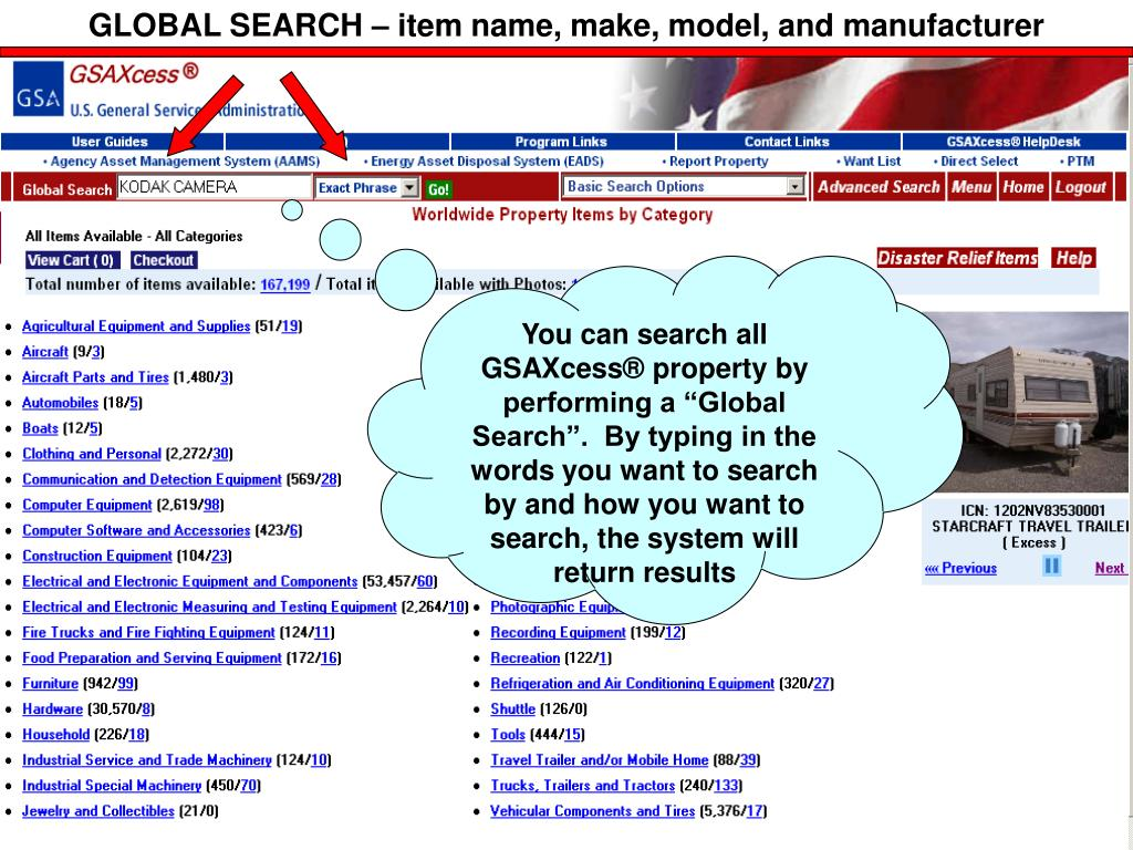 GLOBAL SEARCH – item name, make, model, and manufacturer