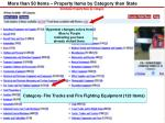more than 50 items property items by category then state
