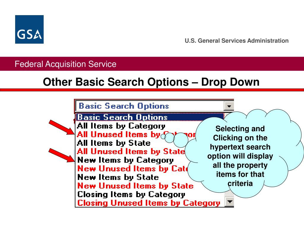 Other Basic Search Options – Drop Down