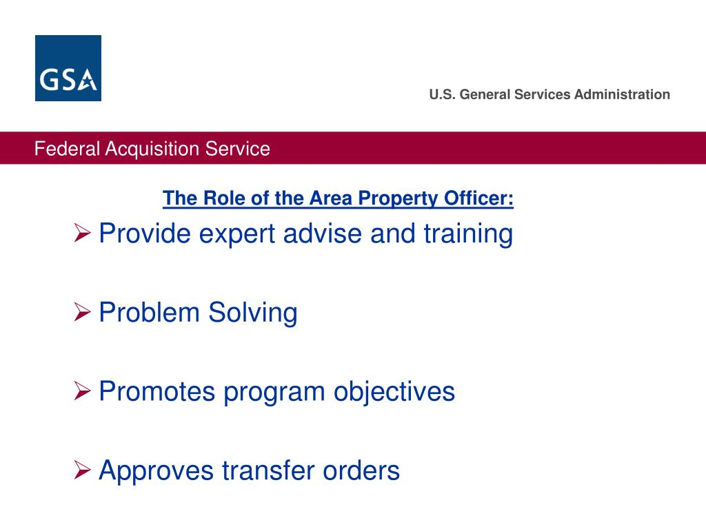 The Role of the Area Property Officer: