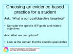 choosing an evidence based practice for a student