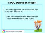 npdc definition of ebp