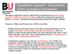 qualitative research the position of the conceptual framework