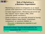 role of marketing in a business organisation