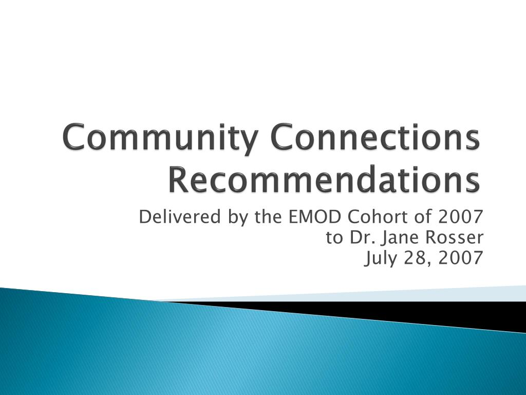 community connections recommendations l.