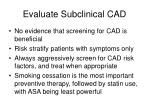 evaluate subclinical cad