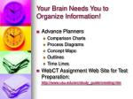 your brain needs you to organize information