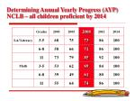 determining annual yearly progress ayp nclb all children proficient by 2014